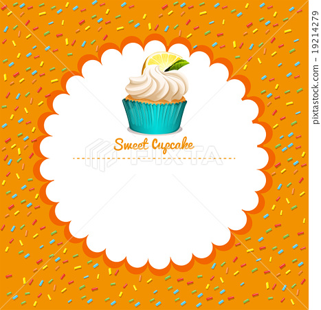 Border design with lemon cupcake 19214279