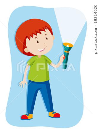 Boy flashing a flashlight 19214626