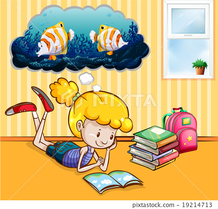 Girl reading books in the room 19214713