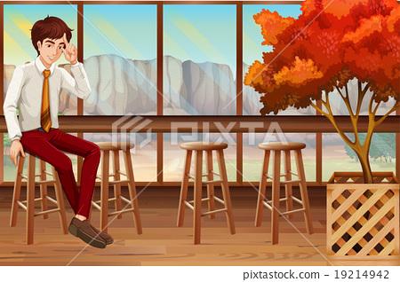 Man sitting in the restaurant 19214942
