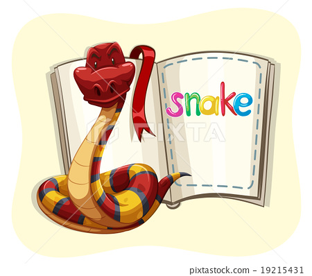 Red snake and a book 19215431