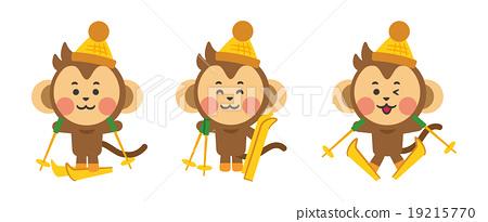Stock Illustration: skiing, monkey, monkeys