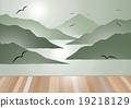 Island view with wooden floor vector background. 19218129