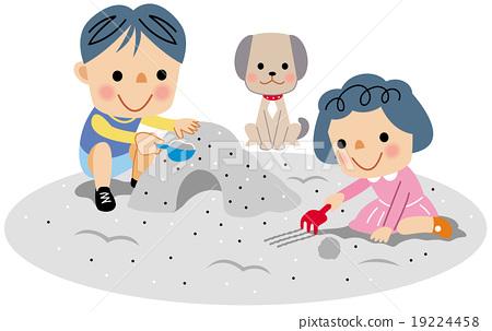 在沙坑里玩 玩沙 砂坑 19224458