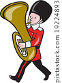 Brass Band Member Playing Tuba Cartoon 19224893