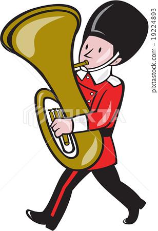 Brass Band Member Playing Tuba Cartoon 19224893