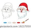 Santa's head coloring page. 19237050