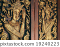 Thai Wooden Sculpture Male Angle On Temple Door 19240223