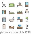 Furniture bold stroke vector color icon 19243735