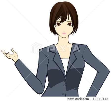 A woman with a suit to introduce something 19250148