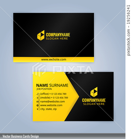 black and yellow modern business card template stock