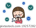 바이러스, 감기, 여자아이 19257282