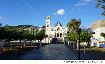church from perissa on greece santorini island 19257481