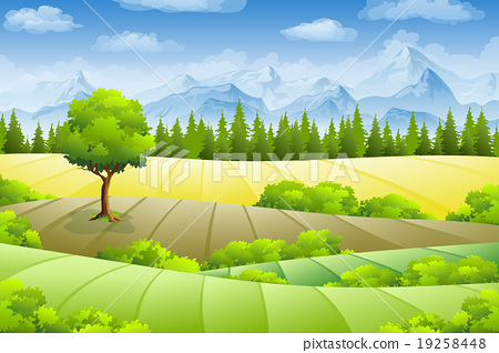 Summer landscape with fields, trees and mountains 19258448