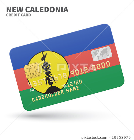 Credit card with New Caledonia flag background for 19258979