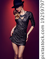 Fashion portrait woman,sequins dress black hat red 19259797