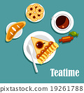 Teatime food with cup of tea, pastries and candies 19261788