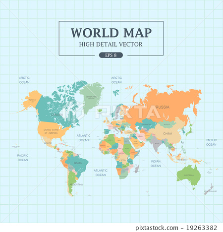 World Map Full Color High Detail . Separated all countries. Vector ...