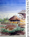 Sketch painting of Shimane Tateyama mountains and private houses 19263467