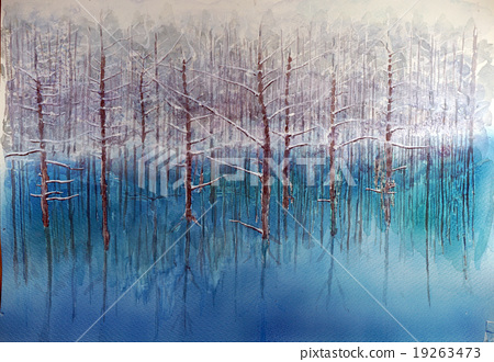 Blue pond watercolor painting 19263473