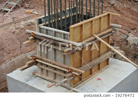 Column stump formwork made from timber and plywood 19276472