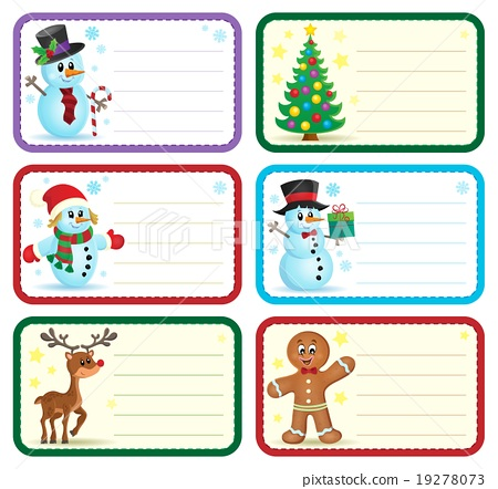 Christmas Name Tags.Christmas Name Tags Collection 1 Stock Illustration