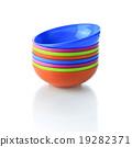 Colorful plastic tableware for picnics 19282371