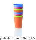 Colorful plastic tableware for picnics 19282372