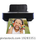 Printer and picture and Little girl with hands in colorful paint 19283351