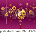CNY monkey background with golden decoration 19284920