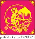 Monkey holds a big peach year couplets illustratio 19284923