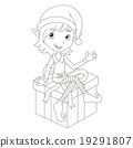 Cute Christmas elf sitting on gift 19291807