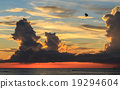 Parasailing and beautiful sunset over the sea in Phuket 19294604