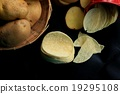 fresh potatoes with potato chips 19295108