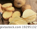 fresh potatoes with potato chips 19295132