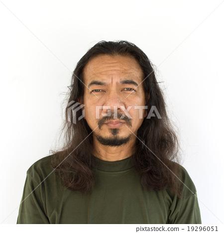 Old Asian Man With Long Hair Stock Photo 19296051 Pixta