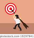 Businessman carry arrow on shoulder point to dartboard, concept 19297841