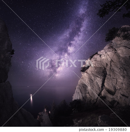 Milky Way. Night landscape with rocks and sky 19309880