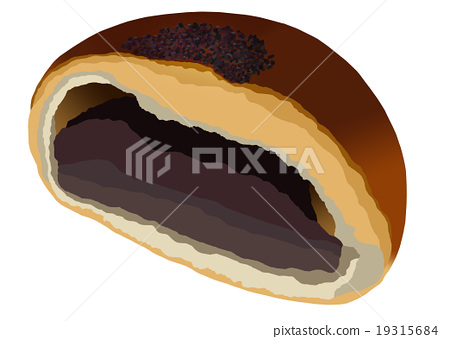 anpan, bread filled with sweet bean paste, danish pastry 19315684