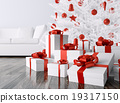 Christmas tree, gifts in a room 3d rendering 19317150