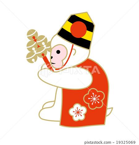 猴子新年的羊毛衫黃道十二宮(白猴子)的插圖 19325069