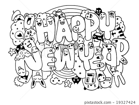 Doodle style Happy New Year sketch with monsters 19327424