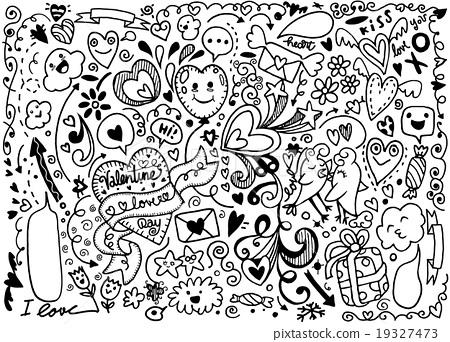 Valentine Doodle Set Hand Draw Love Element Stock Illustration