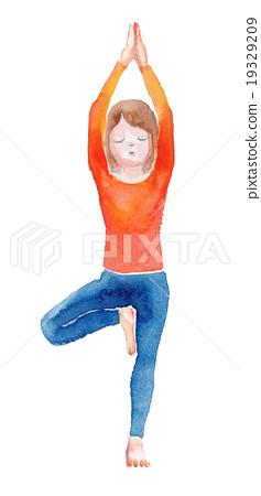 擺姿勢瑜伽木 19329209