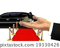 Hand welcome gesture to a luxury limousine ride 19330426
