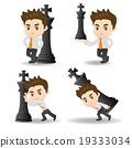 Business man push chess 19333034