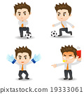 cartoon illustration Businessman with soccer 19333061