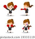 cartoon illustration Business woman boxing 19333119