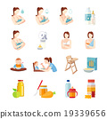 Baby Feeding Flat Icons Set 19339656