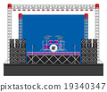 Big Concert Stage with Speakers and Drums 19340347